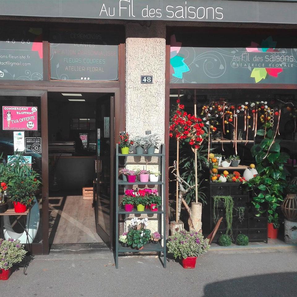 Fleuriste Au fil des saisons - devanture boutique vienne