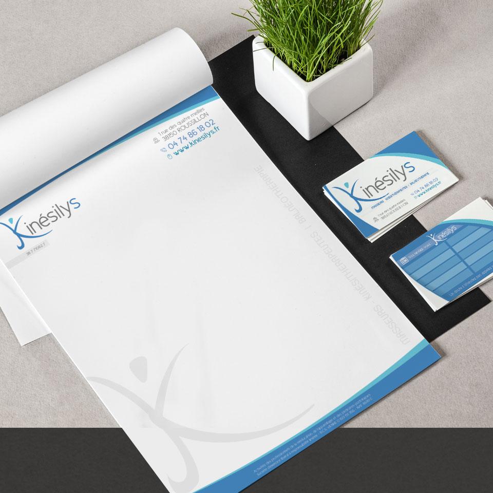 Kinésilys - Centre de Kinésithérapie carte de visite et entête de lettre