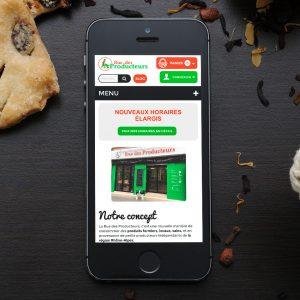 Site mobile Rue des producteurs - Boutique Lyon